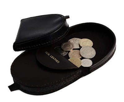 black leather coin tray purse