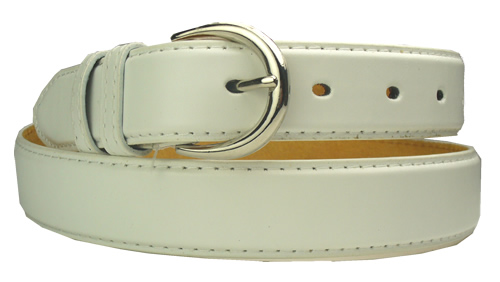 mens white leather belt with silver buckle suit trouser